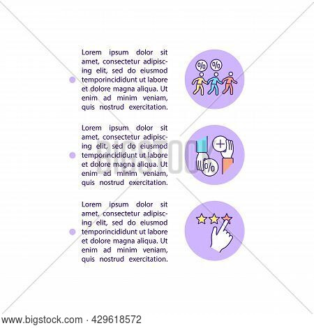 Refer A Friend, Shares And Likes Concept Line Icons With Text. Ppt Page Vector Template With Copy Sp