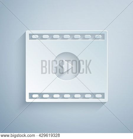 Paper Cut Online Play Video Icon Isolated On Grey Background. Film Strip With Play Sign. Paper Art S
