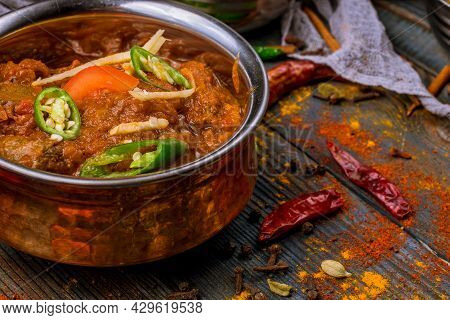 mutton rogan josh indian food in copper