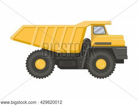 Yellow Dump Truck Isolated On White Transparent Background. Symbol Of Cargo Delivery And Transportat