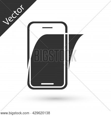 Grey Glass Screen Protector For Smartphone Icon Isolated On White Background. Protective Film For Gl