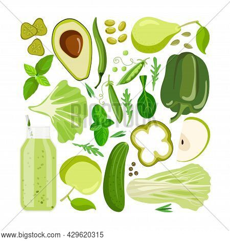 Green Vector Food. Vegetables, Fruits And Other Green Food On White. Chromotherapy, Color Benefits T