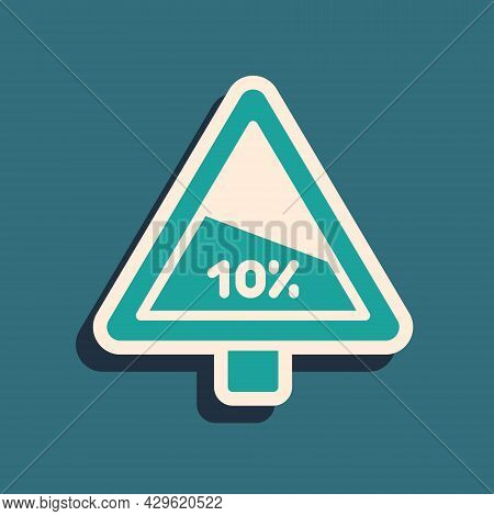 Green Steep Ascent And Steep Descent Warning Road Icon Isolated On Green Background. Traffic Rules A