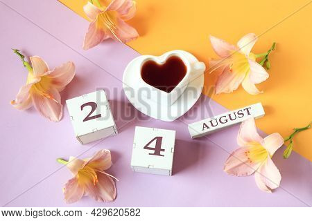 Calendar For August 24 :the Name Of The Month Of August In English, Cubes With The Number 24, A Cup