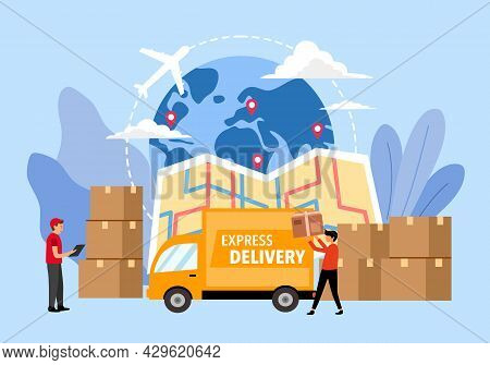 International Shipping Concept Vector Illustration. Airplane, Delivery Truck, Package And Map In Fla