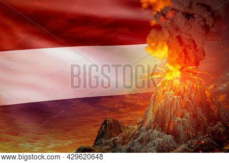 Stratovolcano Eruption At Night With Explosion On Netherlands Flag Background, Problems Of Eruption