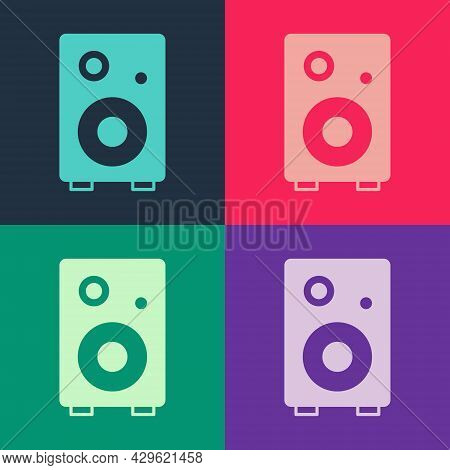 Pop Art Stereo Speaker Icon Isolated On Color Background. Sound System Speakers. Music Icon. Musical