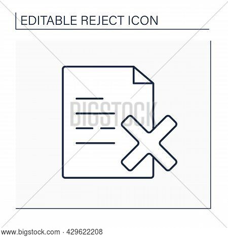 Reject Doc Line Icon. Deny Guidance And Regulations. Mistake. Rejection Concept. Isolated Vector Ill