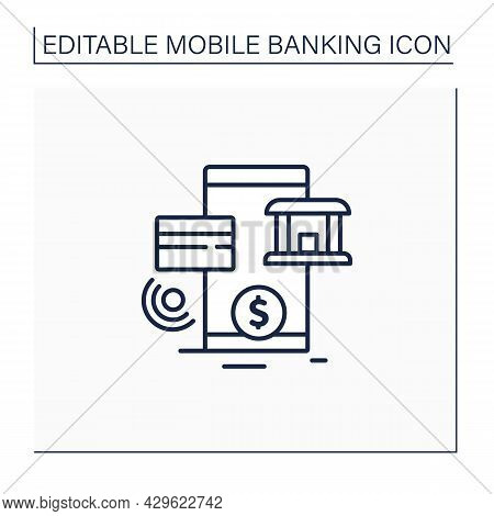 Online Banking Line Icon.accessing Bank Accounts And Carrying Out Financial Transactions Through Int