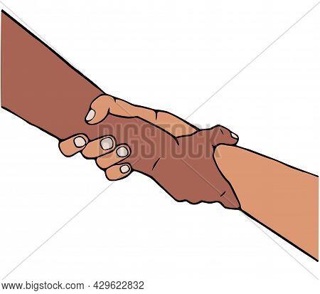 Helping Hand Vector Illustration In Cartoon Style.