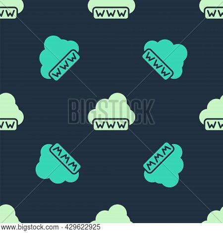 Green And Beige Software, Web Development, Programming Concept Icon Isolated Seamless Pattern On Blu