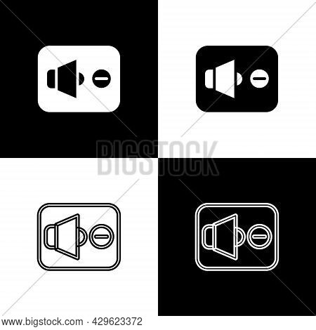 Set Speaker Mute Icon Isolated On Black And White Background. No Sound Icon. Volume Off Symbol. Vect