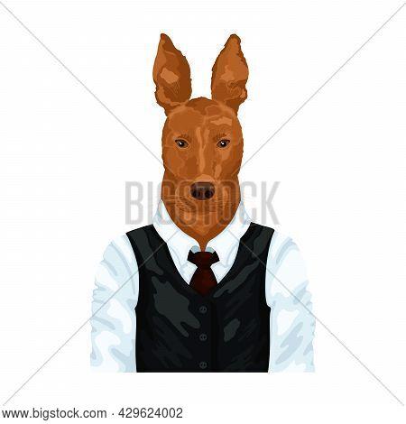 People Art Animal Dog, Character Portrait Animal In Cloth Fashion. Hipster Animal. Vector Illustrati