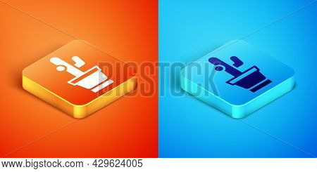 Isometric Cactus And Succulent In Pot Icon Isolated On Orange And Blue Background. Plant Growing In