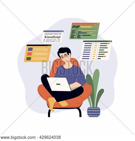 Programmer Write Software And Create Code. Concept Of Script Coding And Programming In Php, Python