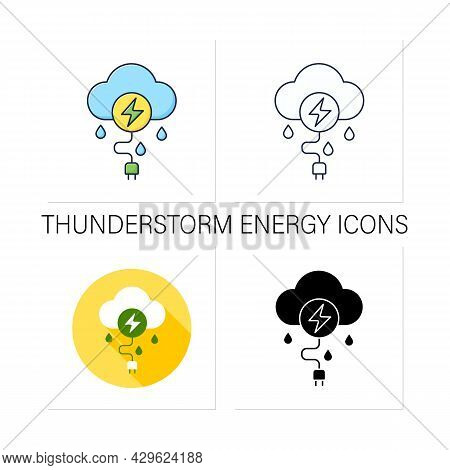 Thunderstorm Energy Icons Set. Getting Power From Electrical Storms. Electricity. Renewable Energy C