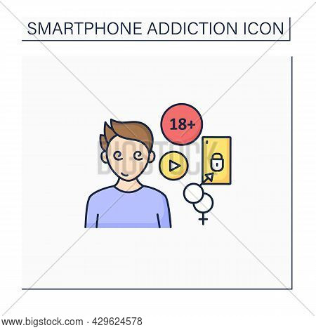 Cybersex Addiction Color Icon. Dependence Of Reading Erotic Stories, Viewing, Pornography. Smartphon