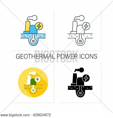 Geothermal Power Icons Set. Geothermal Energy. Dry Steam, Flash Steam, Binary Cycle Power Station. C