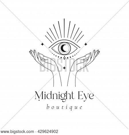 Mystic Eye Logo Design. Magical Shine Crescent
