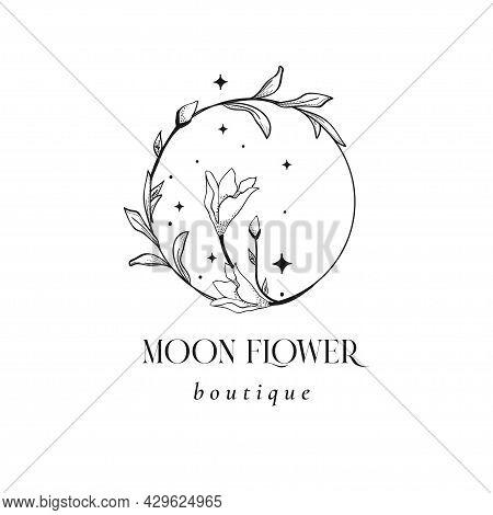 Floral Mystic Logo Design. Handdrawn Blossom Herbs