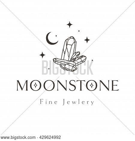 Mystic Cristal Logo Design. Stars, Gems, Crescent.