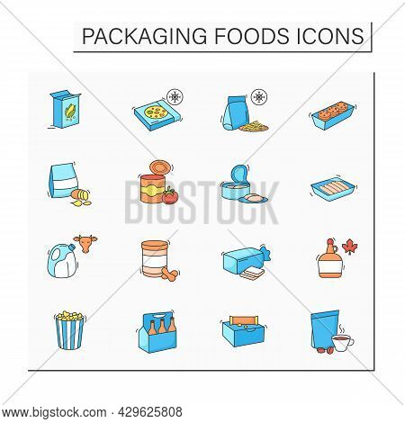 Packing Foods Color Icons Set. Difference In Food Packing.portion Control, Individual Boxes. Protect