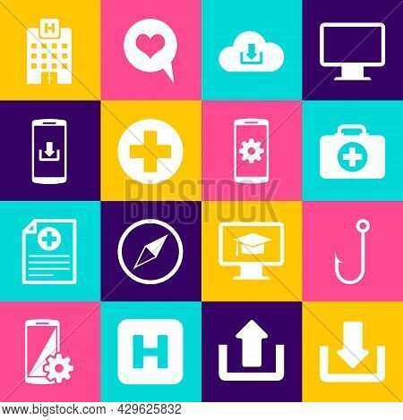 Set Download, Fishing Hook, First Aid Kit, Cloud Download, Medical Cross Circle And Smartphone With