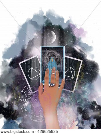 Illustration With A Hand And Three Tarot Cards On The Background Of The Universe, Darkness, Stars, A