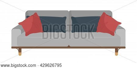Modern Sofa For Living Room Semi Flat Color Vector Object. Full Sized Item On White. Contemporary Co