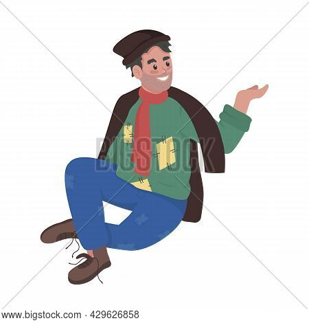 Smiling Homeless Person Asking For Food Semi Flat Color Vector Character. Full Body Person On White.