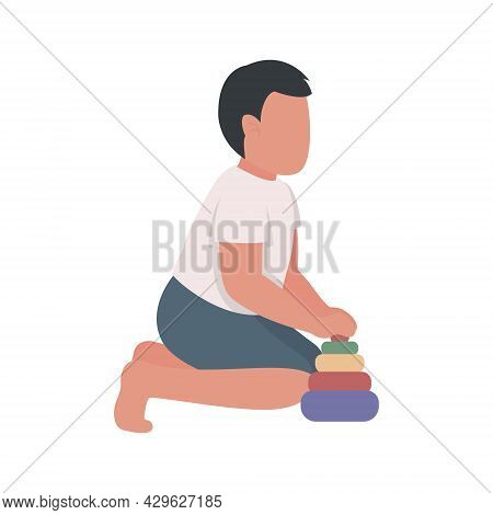 Preschooler Builds Pyramid Toy Semi Flat Color Vector Character. Full Body Person On White. Helping