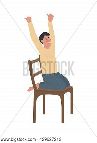 Happy Boy Rising Hands Up Semi Flat Color Vector Character. Sitting Figure. Full Body Person On Whit