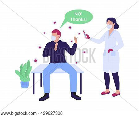 Man Refusing To Take Vaccine Semi Flat Color Vector Characters. Full Body People On White. Vaccinati