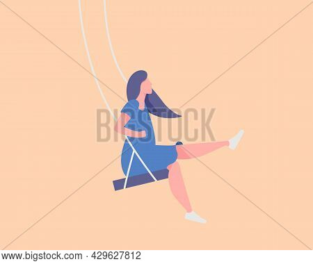 Young Woman Sitting On A Swing. Emotion, Mood Swing. Modern Vector Illustration Cartoon Flat Style