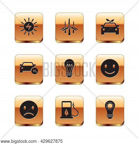 Set Solar Energy Panel, Sad Smile, Bio Fuel With Fueling Nozzle, Light Bulb, Hydrogen Car, Eco Conce