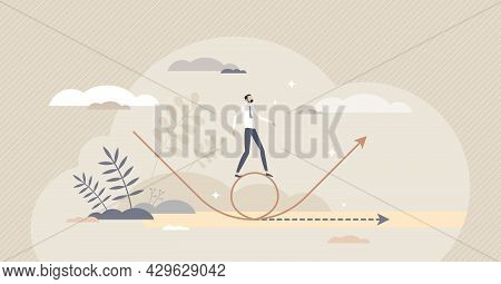 Pivoting As Strategy Change And Redirection For Growth Tiny Person Concept. New Plan Motion With Bet