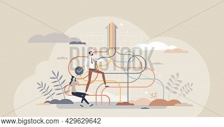 Growth Path For Business Success And Progress Direction Tiny Person Concept. Leadership Vision And C