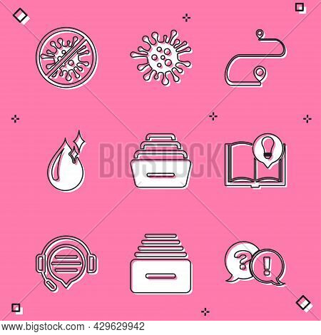 Set Stop Virus, Bacteria, Bacteria, Route Location, Clean Water Drop, Drawer With Documents, Interes