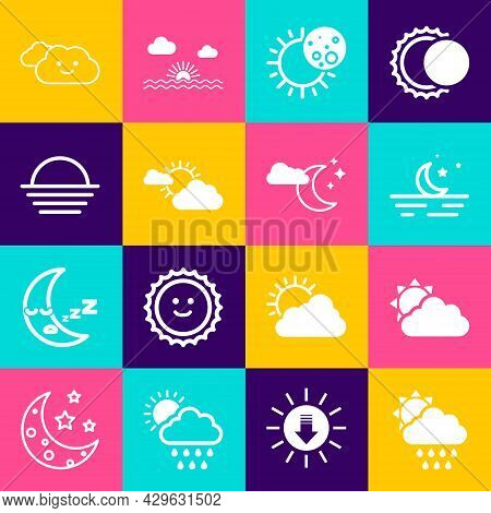 Set Cloud With Rain And Sun, Sun Cloud Weather, Moon Stars, Eclipse Of, Sunset, And Moon Icon. Vecto