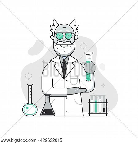 Chemist Lab Concept With Old Scientist Professor