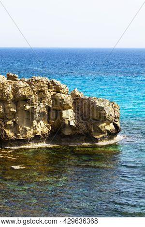 Mediterranean Sea Beach. White Sand Beach. Summer Day Seascape. Clear Water Texture. Drone View. Aer