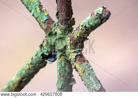 Very Rusty Metal Rod. Chemical Processes Of The Material