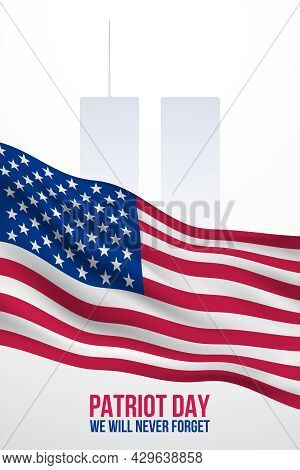 September 11 Banner. Patriot Day Poster With American Flag And World Trade Center Silhouette. We Wil