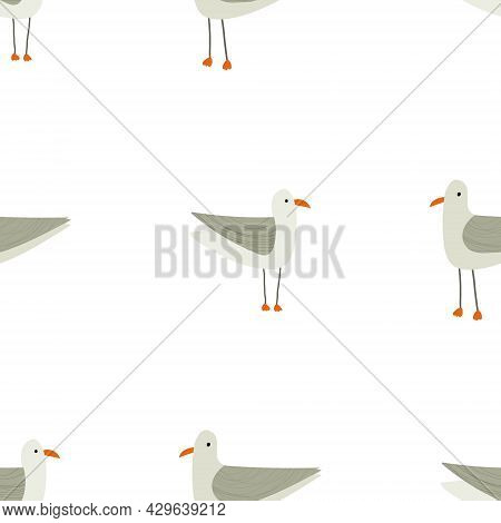 Hand Drawn Illustration Of Funny Cute Seagull Seamless Pattern. Nautical, Sea Theme For Backgrounds,