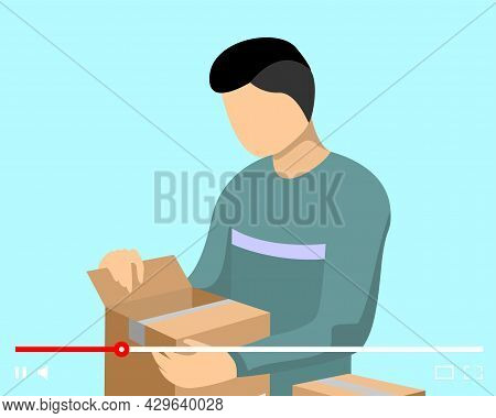 Blogger Man Parcel Unpacking Content On Online Video Player Interface. Vlogger Unboxing Cardboard Pu