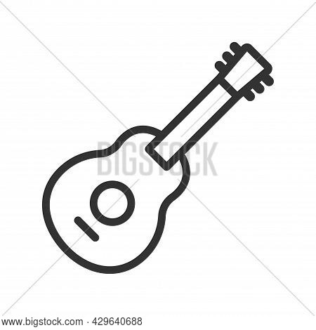 Guitar Icon Vector, Acoustic Musical Instrument Sign Isolated On White Background. Trendy Flat Style
