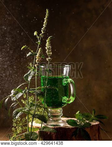 Refreshing Tarragon Drink And Blooming Fresh Mint