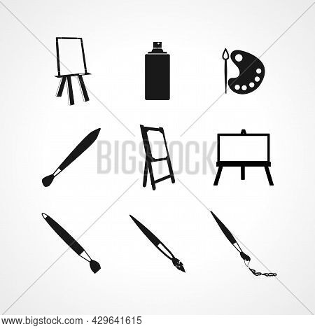 Painter Tool Painting Art Icon Set With Canvas, Painting Brush