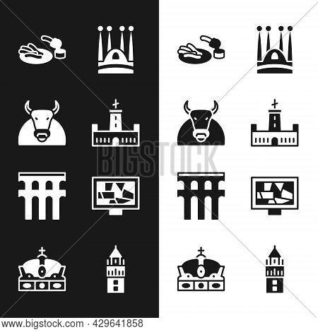 Set Montjuic Castle, Bull, Churros And Chocolate, Sagrada Familia, Aqueduct Of Segovia, Picture Art,