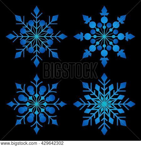 Set Of Abstract Winter Snowflakes For Social Media Stories. Colorful Winter Banners With Snowflakes.